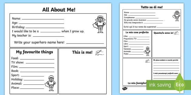 All About Me Worksheet Activity Sheet Italian English All