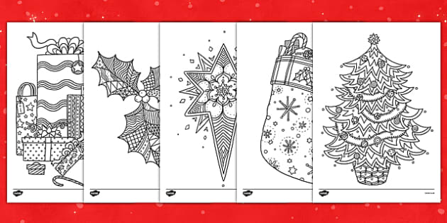 Christmas Themed Mindfulness Colouring Sheets Colouring Pd