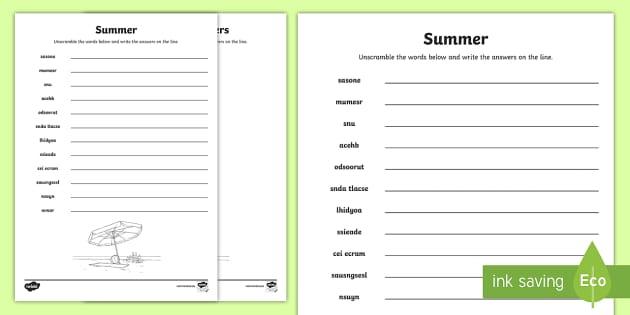 Summer Word Unscramble  Vocabulary keywords key words