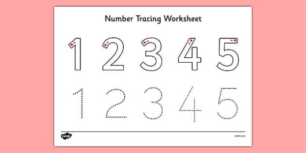 Number Tracing Worksheet 1-5 - number. tracing. worksheet