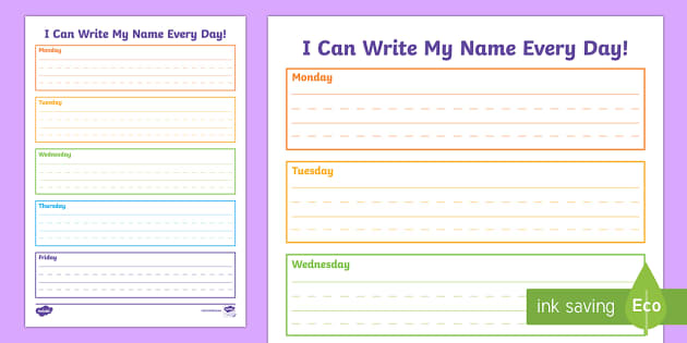 I Can Write My Name Handwriting Worksheet Activity Sheet