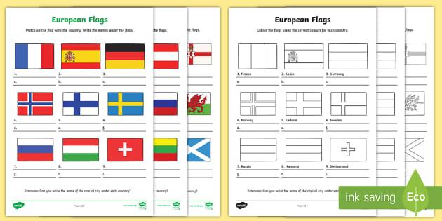 Black And White European Flag Worksheets Teacher Made