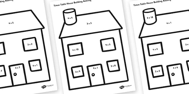 3, 4 and 9 Times Tables Active Picture Building Activity House