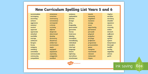 FREE 2014 National Curriculum Spelling List Years 5 And