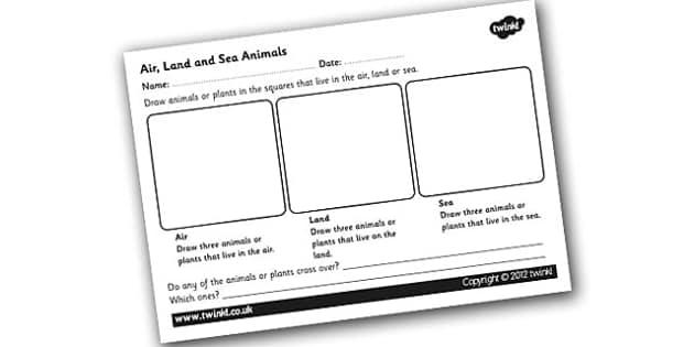 Air, Land and Sea Animals Worksheet