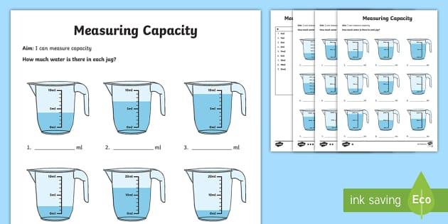 Year 2 Measure Volume Differentiated Worksheet / Worksheets - reading scales