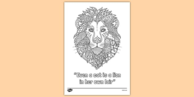 Lion Quote Mindfulness Colouring Poster