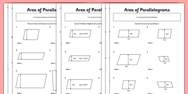 Area Of Parallelograms Worksheet Pack