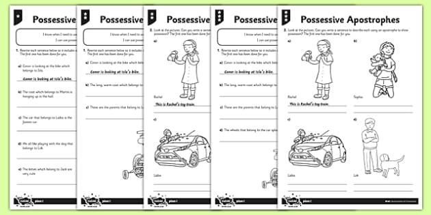 Possessive Apostrophes Differentiated Worksheet Activity