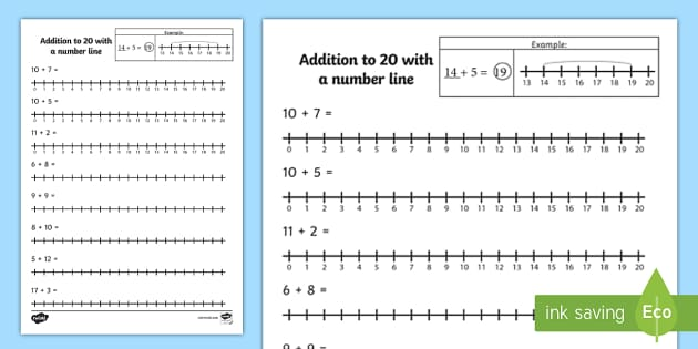 Addition to 20 with a Number Line Worksheet / Activity Sheet