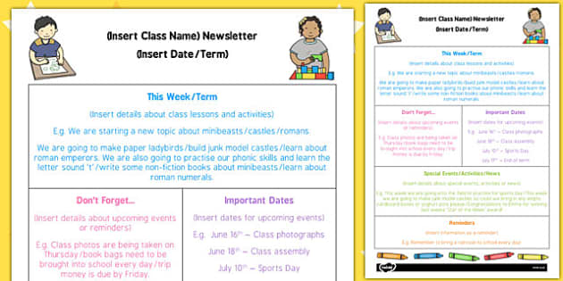 EYFS Editable Newsletter Template Eyfs Editable Newsletter