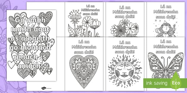 Mothers Day Mindfulness Colouring Pages Gaeilge ROI