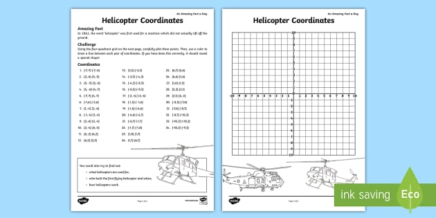 Helicopter Coordinates In Four Quadrants Worksheet Worksheet