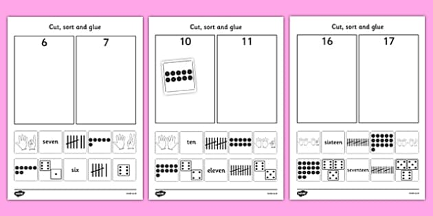 Cut And Stick Number Sort Worksheet Activity Sheets