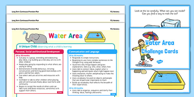Water Area Continuous Provision Poster and Challenge Cards Pack