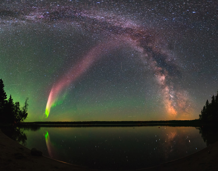 A STEVE light captured at Childs Lake, Manitoba.  Credit NASA's Goddard Space Flight CenterKrista Trinder