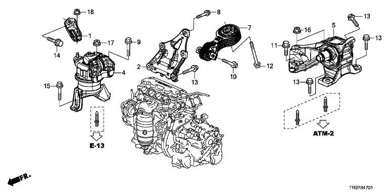 Honda 50850TR0A81 50850TR6A81 Подушка коробки (АТ) Civic