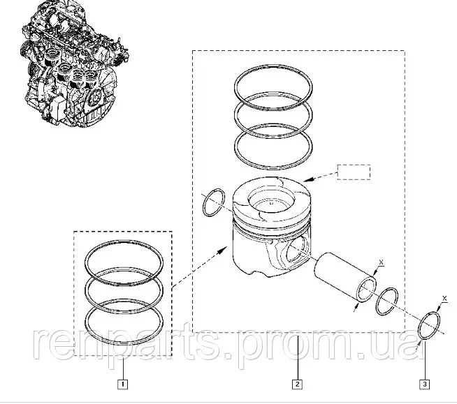 Кольца 84мм на поршень Opel Vivaro, Renault Trafic, Nissan