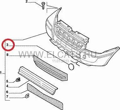 Заглушка переднего бампера Doblo 00-05 735308884: продажа