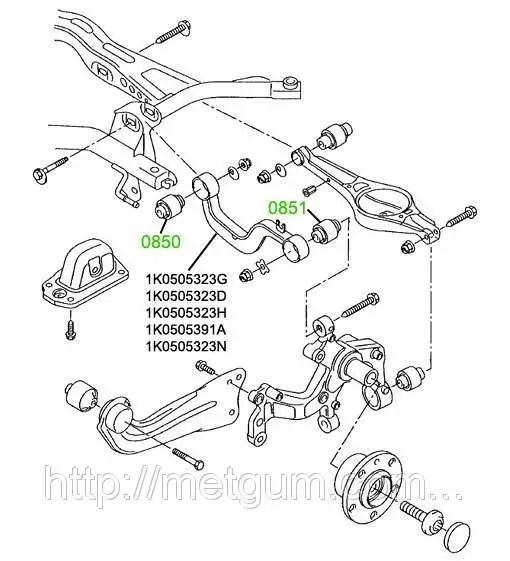 08-50 Сайлентблок заднего поперечного рычага Volkswagen