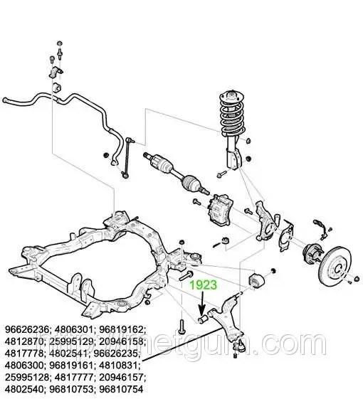 19-23 Сайлентблок переднего рычага передний Chevrolet