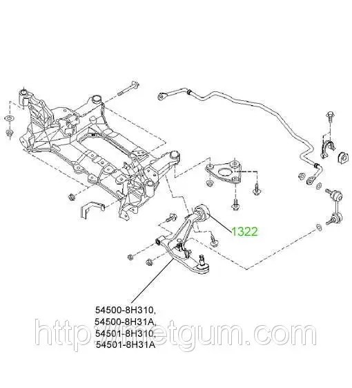 13-22 Сайлентблок задний переднего рычага Nissan X-Trail