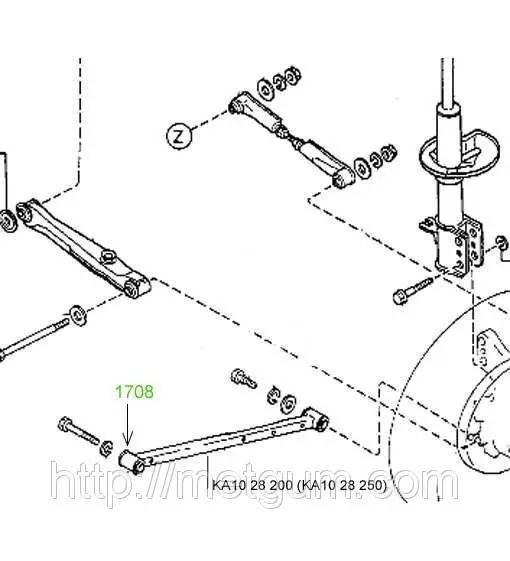 17-08 Сайлентблок продольной тяги задней подвески 52х20х45