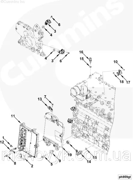 Расположение датчиков двигателей Cummins QSB 6.7