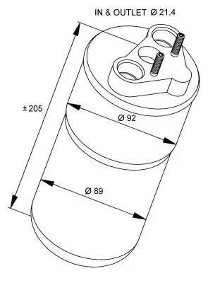 Осушитель кондиционера (вп/вып 21.4mm) на Renault Trafic