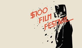Film festival logo featuring man with a movie camera for a head