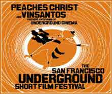 Orange themed film festival poster featuring people falling down a hole