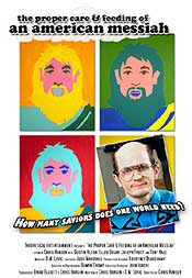 Movie poster featuring Andy Warhol style illustrations of Jesus and another messiah
