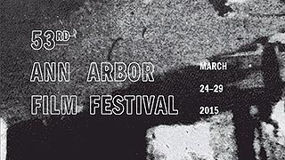 Abstract black and white image with Ann Arbor Film Festival text logo overlaying it