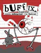 Boston Underground Film Festival poster featuring a rabbit fighting a giant eyeball with legs