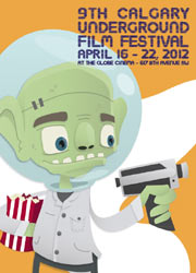 Film festival poster featuring a little green alien with a ray gun