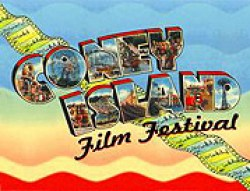 Film festival logo that looks like a postcard from Coney Island