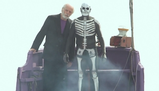Alejandro Jodorowsky and a skeleton in The Dance of Reality