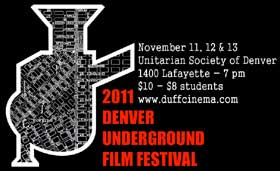 Film festival poster that looks like a map of Denver in the shape of a movie camera