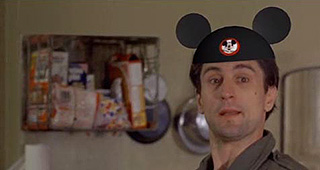 Robert De Niro in Taxi Driver wearing Mickey Mouse ears