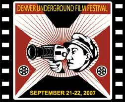 Denver Underground Film Festival poster with drawing of man with 8mm film camera