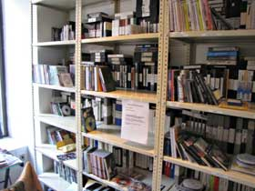 Packed shelves at the Film-Makers' Cooperative in New York City