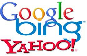 Montage of logos for Google, Bing, and Yahoo