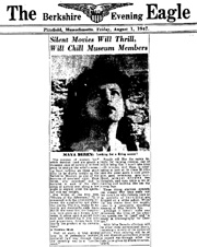 Newspaper article from 1947 with photo of filmmaker Maya Deren