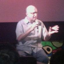 Jeff Krulik talking at a screening of Heavy Metal Parking Lot