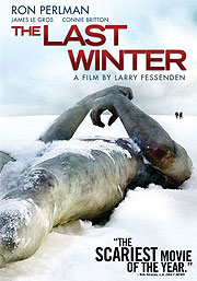 Movie poster featuring a dead man lying in snow