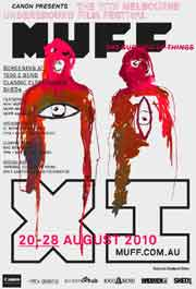 Film festival poster featuring an abstract drawing of two hooded figures.