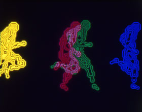 Abstract computer images of a person running