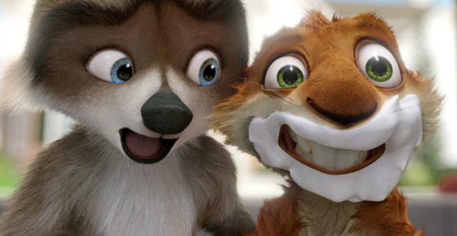 Still from Over the Hedge featuring a raccoon and a rabid squirrel