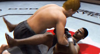 Two MMA video game characters wrestle in a sexual position