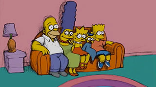 The Simpsons sitting on their couch as drawn by animator Bill Plympton